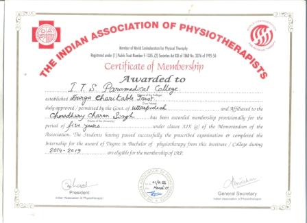 Membership Certificate of  IAP